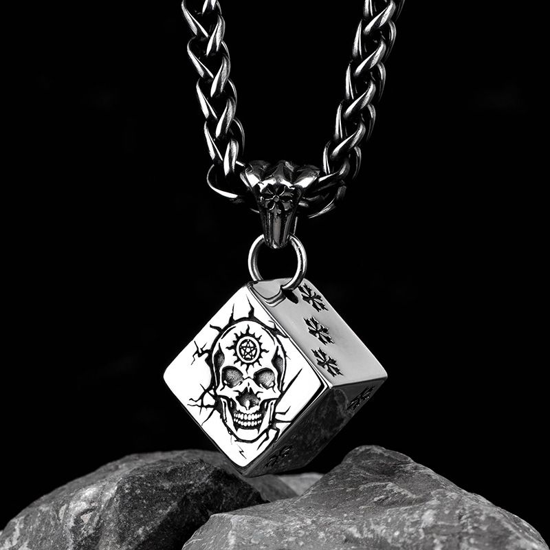 Skull Dice pendant with snow stainless steel fate necklace for men and women