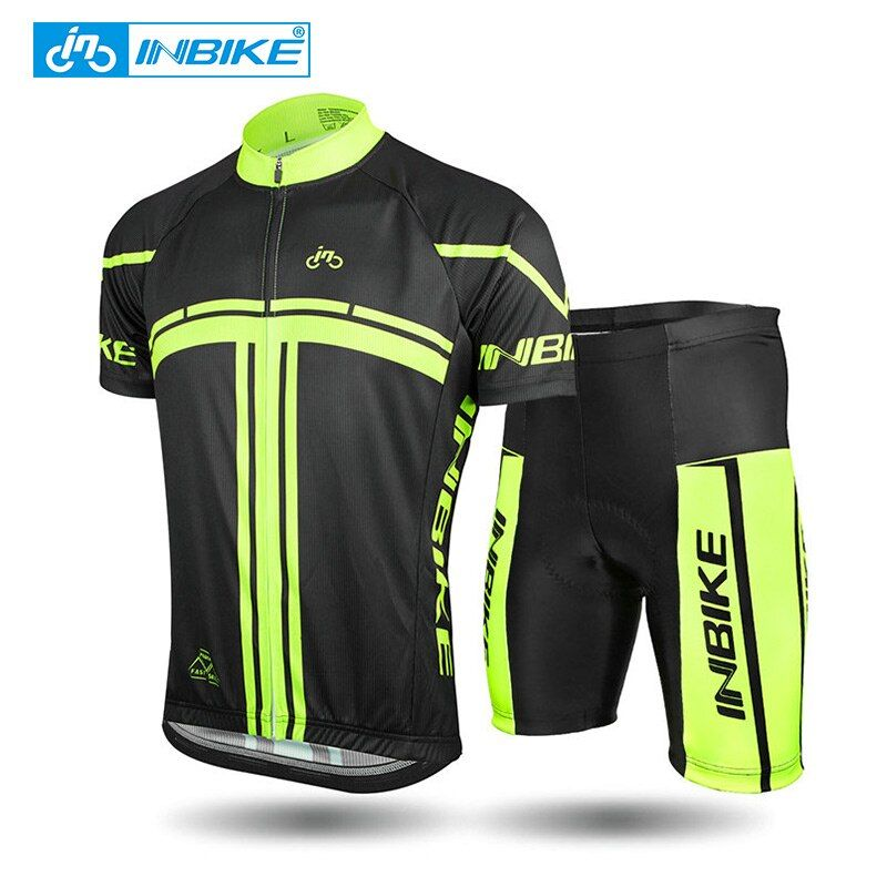 INBIKE 2018 Summer Short Sleeve <font><b>Cycling</b></font> Set Mountain Bike Clothing Breathable Bicycle Jerseys Clothes Maillot Ropa Ciclismo