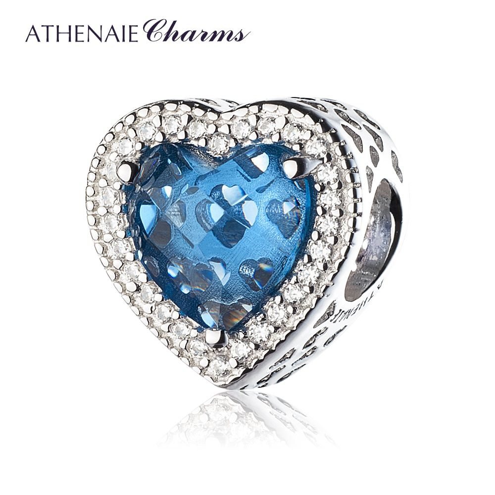 ATHENAIE 925 Sterling Silver Radiant Hearts Beads Charms Pave Moonlight Blue Crystal & Clear CZ Fit Bracelets Women