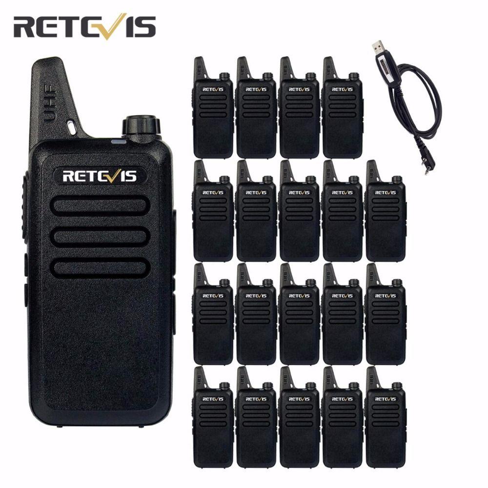 20 stücke Walkie Talkie Retevis RT22 UHF 400-480 MHz Transceiver 2 Watt 16 CH CTCSS/DCS TOT VOX Scan Rauschsperre 2 Way cb Radio (Schwarz) A9121A