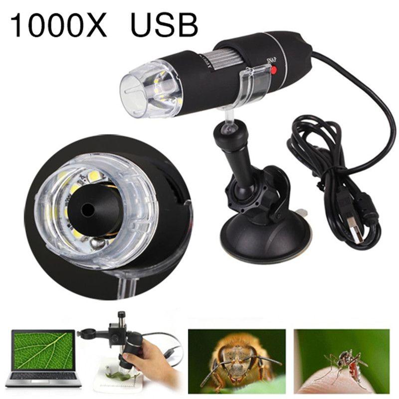 Portable USB Microscope Light <font><b>Electric</b></font> Handheld Microscopes Suction Tool 1000X 8 LED Digital Endoscope Camera Microscopio
