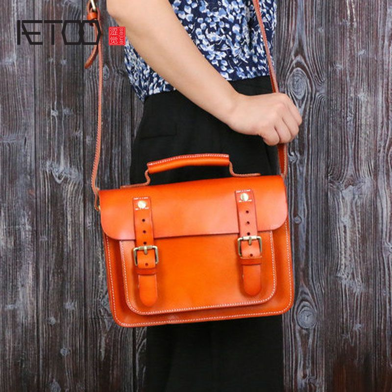 AETOO Dermis ladies oblique spaghetti tanned leather bag European and American bags