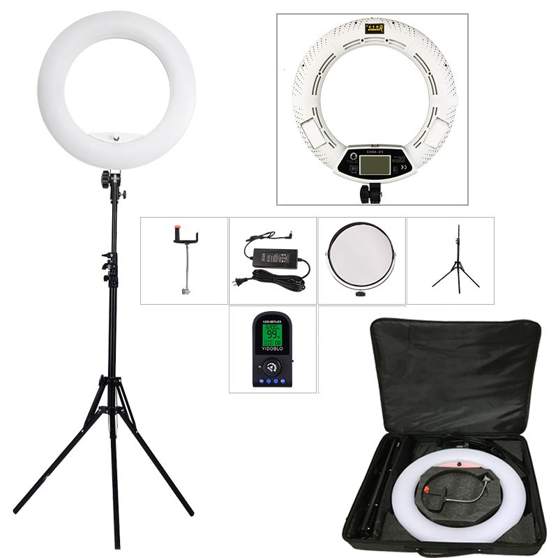 Yidoblo White FE-480II 5500K Dimmable Camera Photo/Studio/Phone/Video 18 96W 480 <font><b>LED</b></font> Ring Light <font><b>LED</b></font> Lamp+ 200cm tripod +Bag Kit