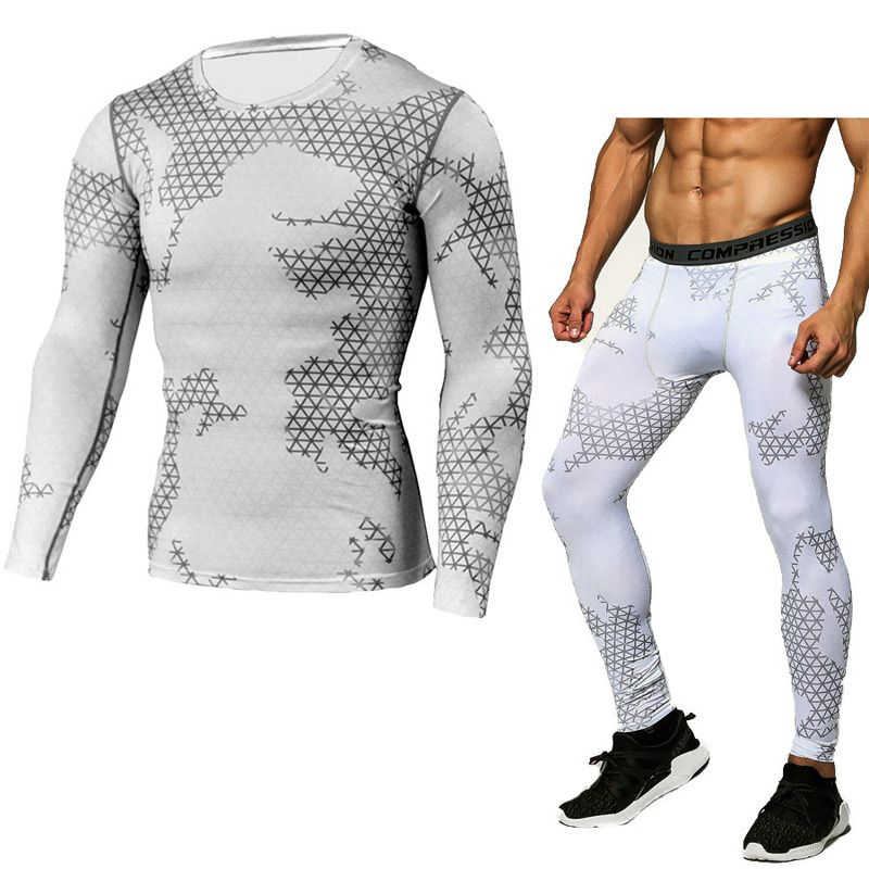 compression shirt tactical MMA rashgard union suit 2017 Men's Long Sleeve T-Shirt + tights for men Set  pants  Fitness Clothing