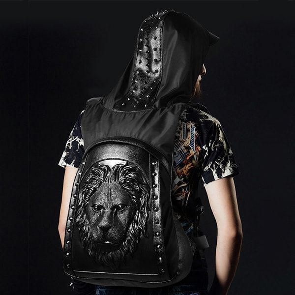Large Capacity Men Restore 3D Rivets Lion backpack gothic 3D embossed leather Shoulder Bag with Hood Cap Apparel Travel Backpack
