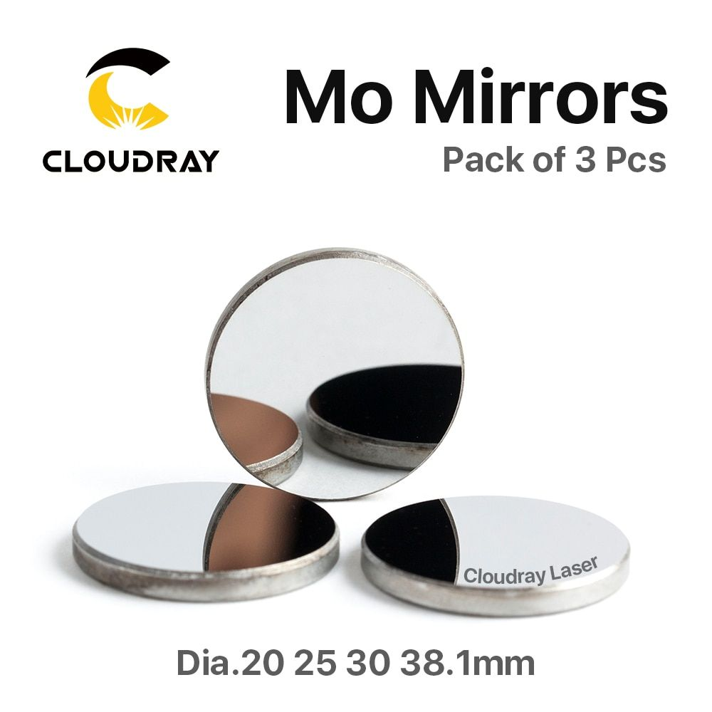 Cloudray High Quality Mo <font><b>Mirror</b></font> Dia. 15 19.05 20 25 30 38.1mm THK 3mm for CO2 Laser Engraving Cutting Machine Pack of 1Pcs/3 Pcs