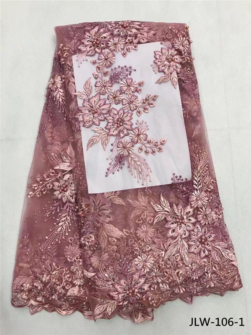 Perlée Africain tissu en dentelle s assez français tulLe tissu en dentelle 5 yards fleur motif en gros pour le mariage partie JLW-106