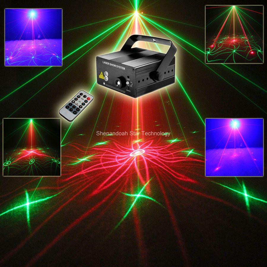 Новая модель мини-синий светодиод красный зеленый 18 Вышивка Крестом Картины лазерный проектор дистанционного DJ Освещение танец Xmas Бар Диск...