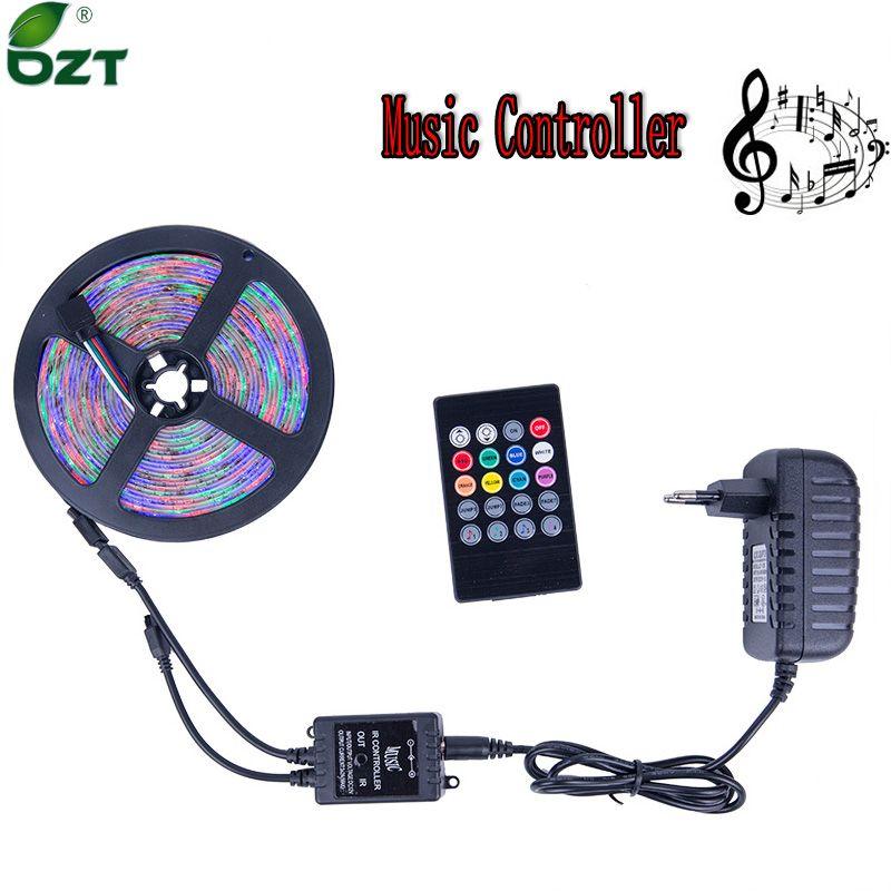 RGB LED Strip 5M <font><b>300Leds</b></font> SMD3528 LED Light Music Controller 12V 2A Power Adapter Flexible Light Led Tape Home Decoration Lamps