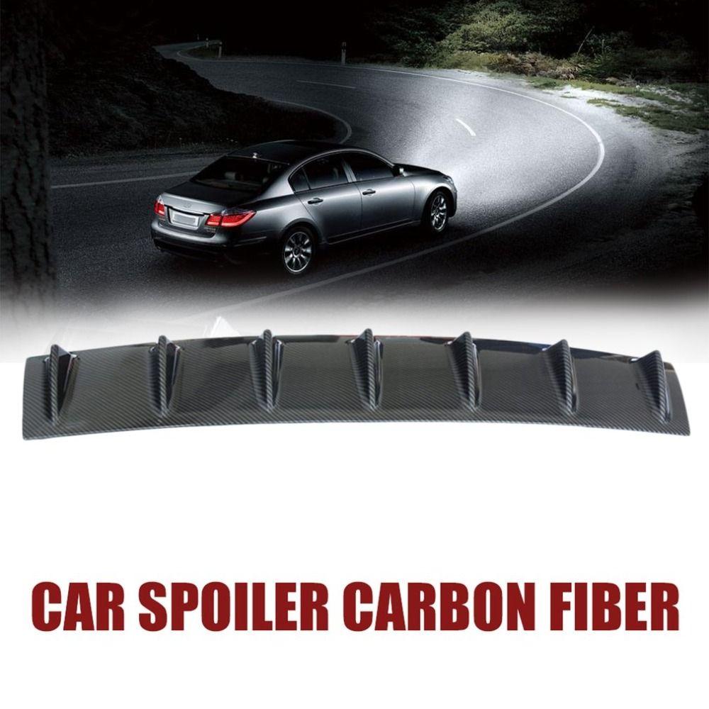 85.5cm Universal Rear Bumper Lip Diffuser7 Shark Fin Black ABS Carbon Fiber Grain Rear Bumper Chassis Spoiler No Drilling Needed