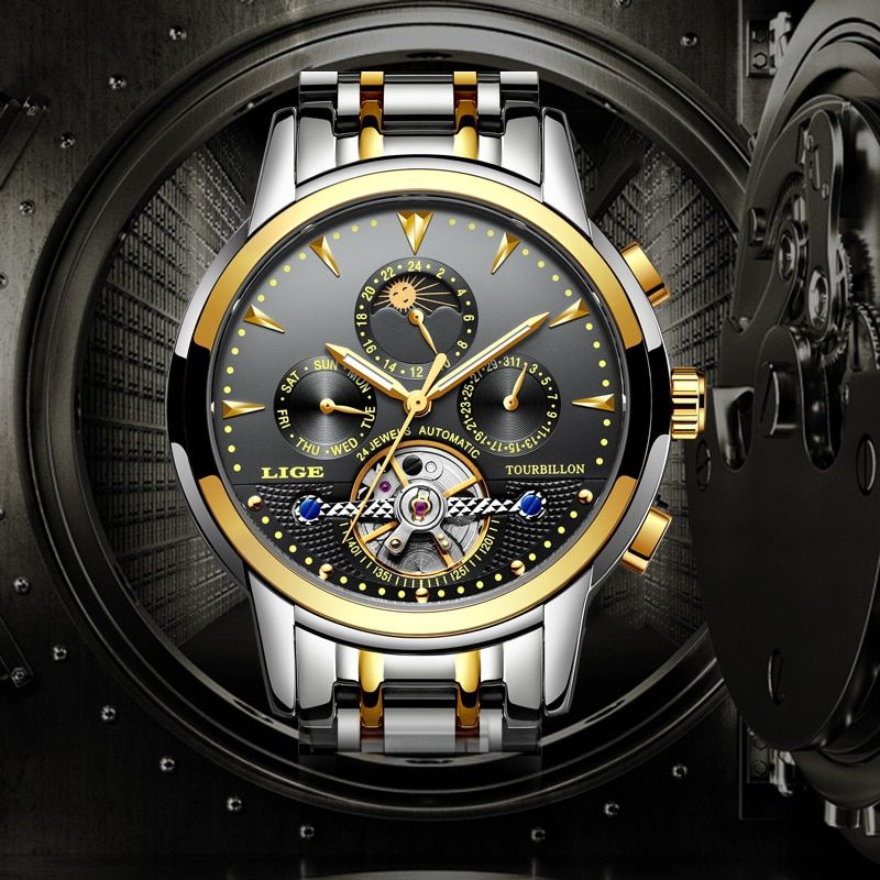 Relogio LIGE New Men's Luxury Brand Mechanical Tourbillon Steel Watch Moon Waterproof Men's Watch Business Leisure Wristatch