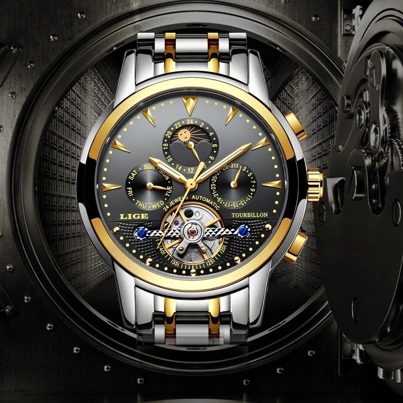 Relogio LIGE New Men's Luxury Brand Mechanical Tourbillon Steel Watch Moon Waterproof Men's Watch Business Leisure Wristatch