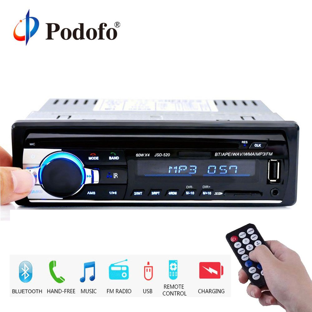 Podofo 1DIN In-Dash Car Radios Stereo Remote Control Digital Bluetooth Audio Music Stereo 12V Car Radio Mp3 Player USB/SD/AUX-IN