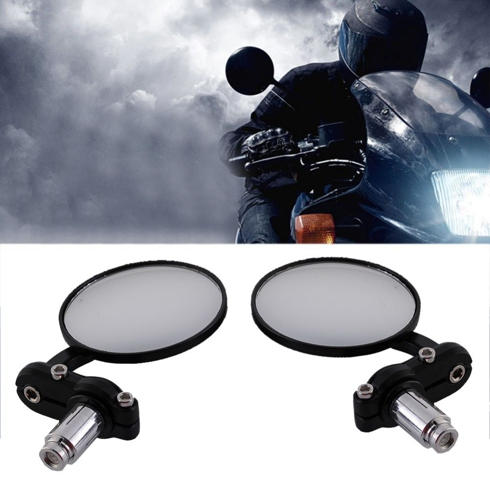 universal Black Motorcycle rearview Mirrors 7/8