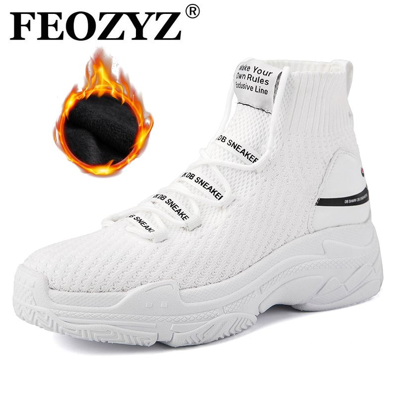 FEOZYZ High Top Running Shoes For Men Women Thermal Winter Shoes Women Men Fur Lining Sport Shoes Chunky Shark Sneakers
