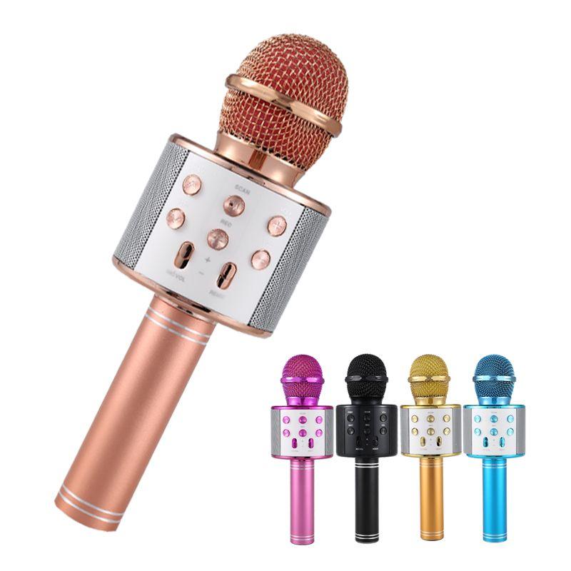 Professionnel Bluetooth sans fil Microphone haut-parleur à main Microphone karaoké micro lecteur de musique chant enregistreur KTV Microphone