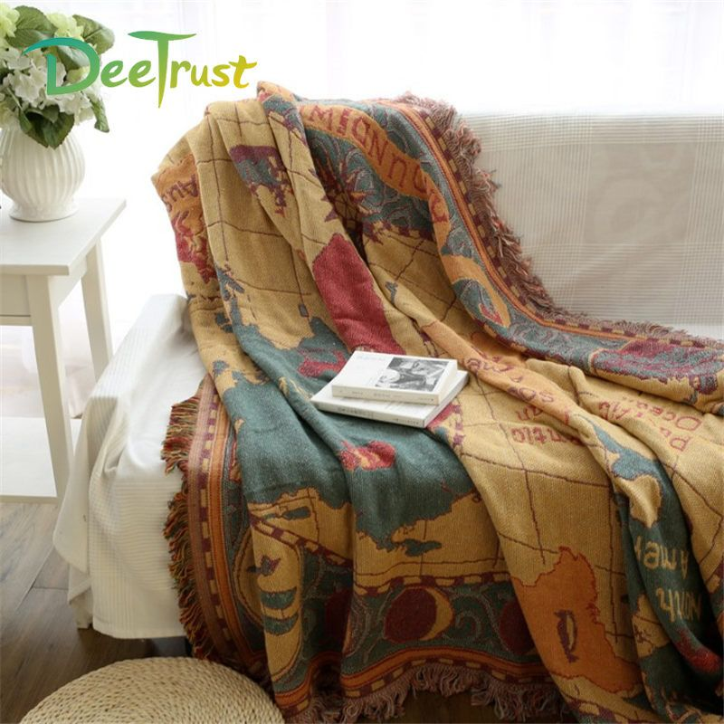 Retro Plaid Map Thickening Tassel Cotton Blanket Sofa Throws On Sofa/Bed/Plane Cover Home Decorative Double Sides Cobertor