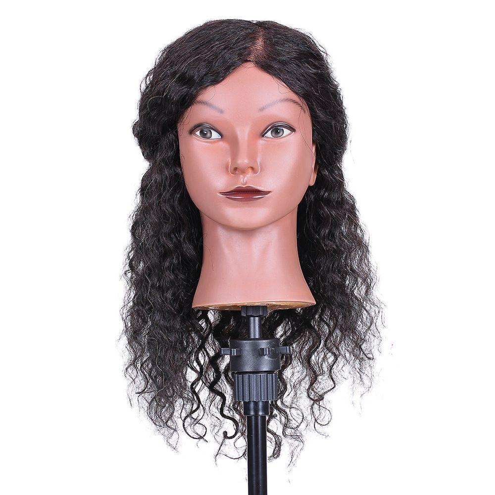 Lockiges Haar Mannequinkopf Friseurausbildung Kopf für Haar Styling Flechten Praxis Training Dummy Puppe Kopf mit Echthaar