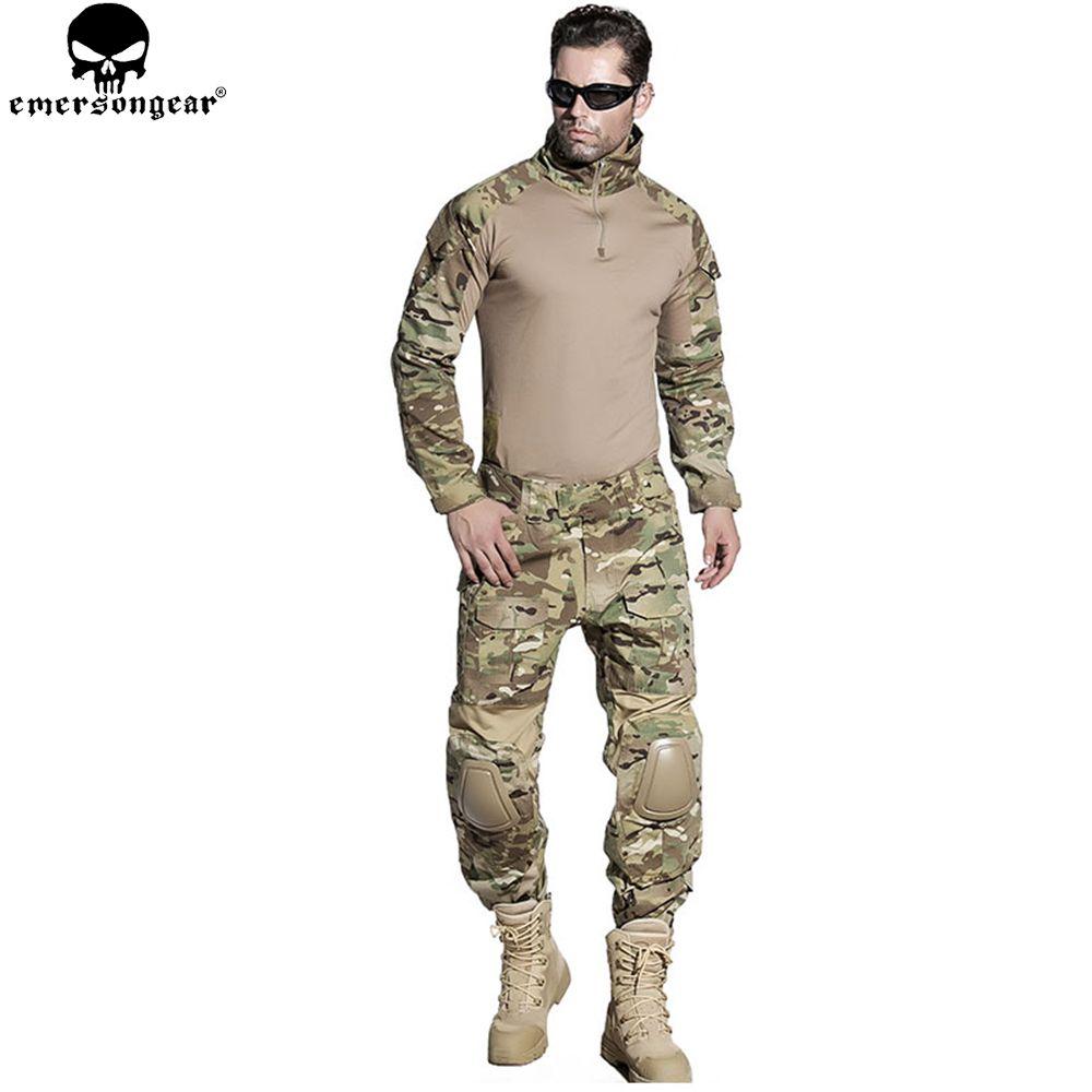 EMERSONGEAR Airsoft Training Kleidung Combat Shirt Hosen mit Knie Ellenbogen Pads Multicam Tarnung Anzug Jagd Uniform EM2725