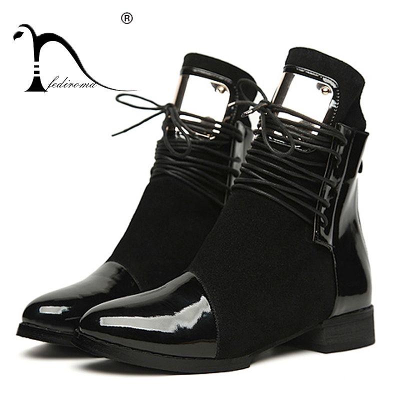 35-43 femmes bottes en cuir véritable plat Martin bottines femmes moto bottes automne chaussures femmes hiver cuir verni Botas