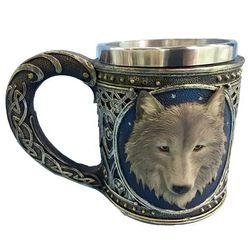 Ужас 3D реалистичный король-Волк череп кружки с двойными стенками из нержавеющей стали животных Волк смолы кружка чашка Geek кофе чашка Рождес...