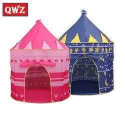 Qwz Bermain Tenda Mainan Portabel Lipat Tipi Pangeran Tenda Lipat Anak-anak Laki-laki Castle Cubby Rumah Bermain Anak Hadiah Outdoor Mainan tenda