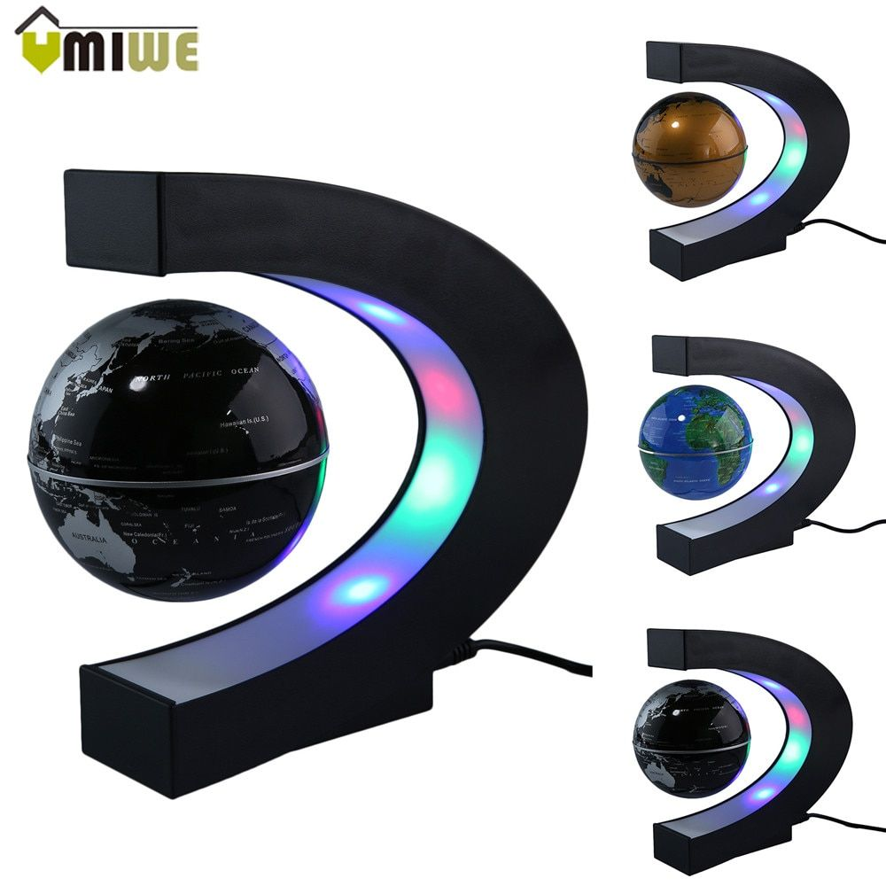 Fashion Home Decoration LED Floating Tellurion C Shape Magnetic Levitation Floating Globe World Map With LED Light US/UK/EU Plug
