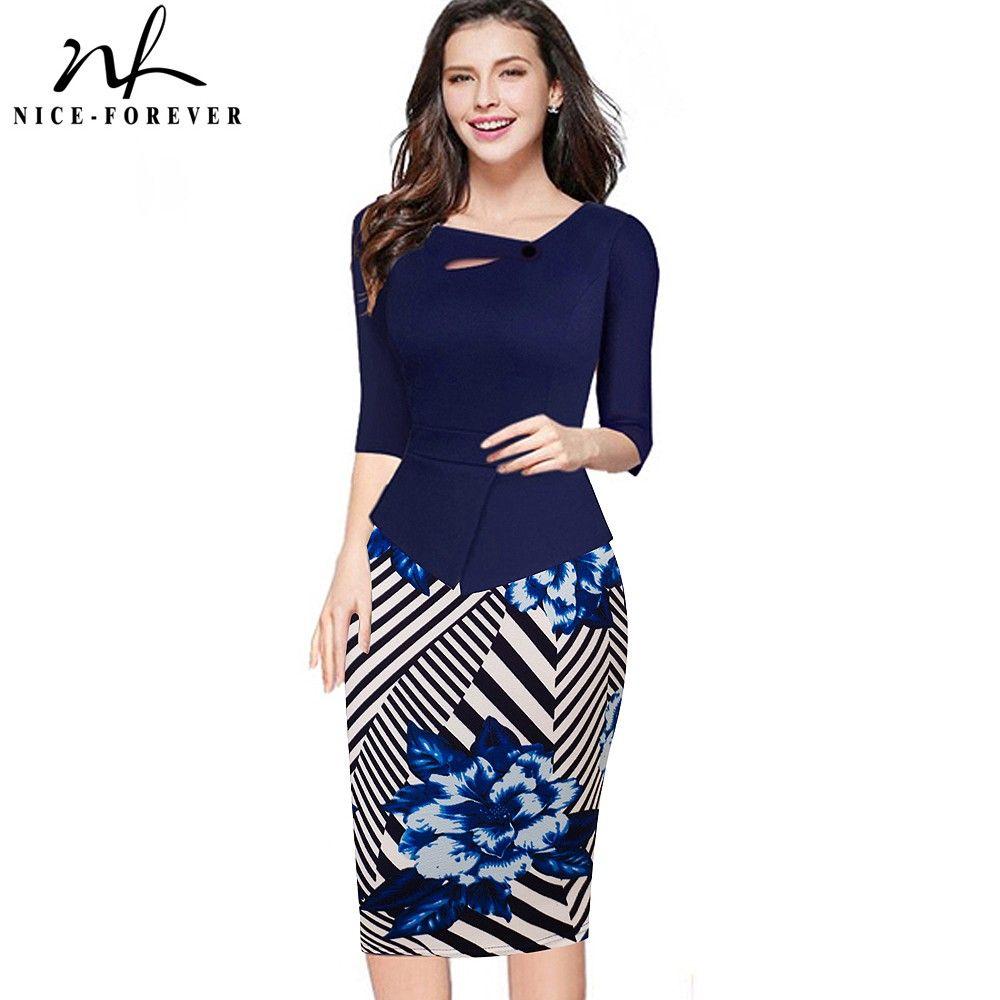 Nice-pour toujours Automne Imprimé Floral Patchwork Bouton Casual Dress Affaires Trois Trimestre Zip Retour Moulante D'été Bureau Robe b288