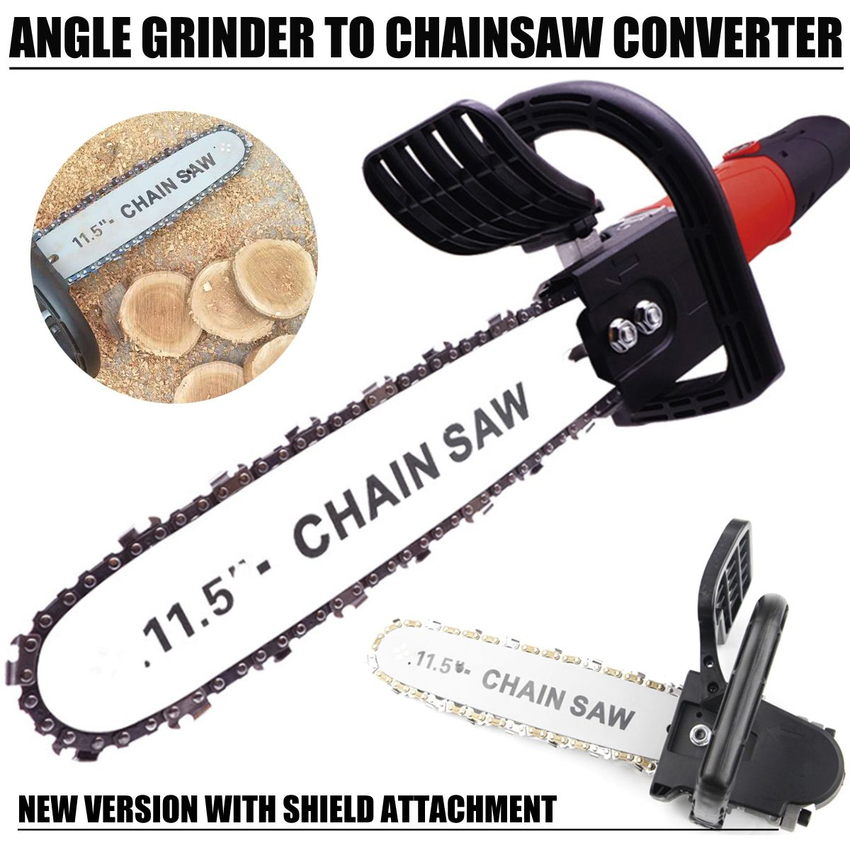 DIY Electric Saw 11.5 Inch Chainsaw Bracket Set High Carbon Steel For M10 Angle Grinder To Chain Saw Woodworking Power Tool