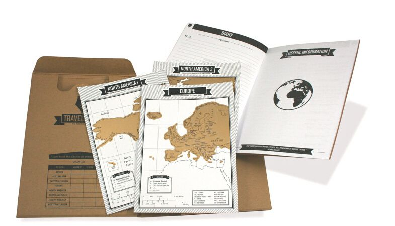 Popular Travelogue map Scratch Map Travel log tourist maps Notebook Best Travel Gift with 8 mini World Map