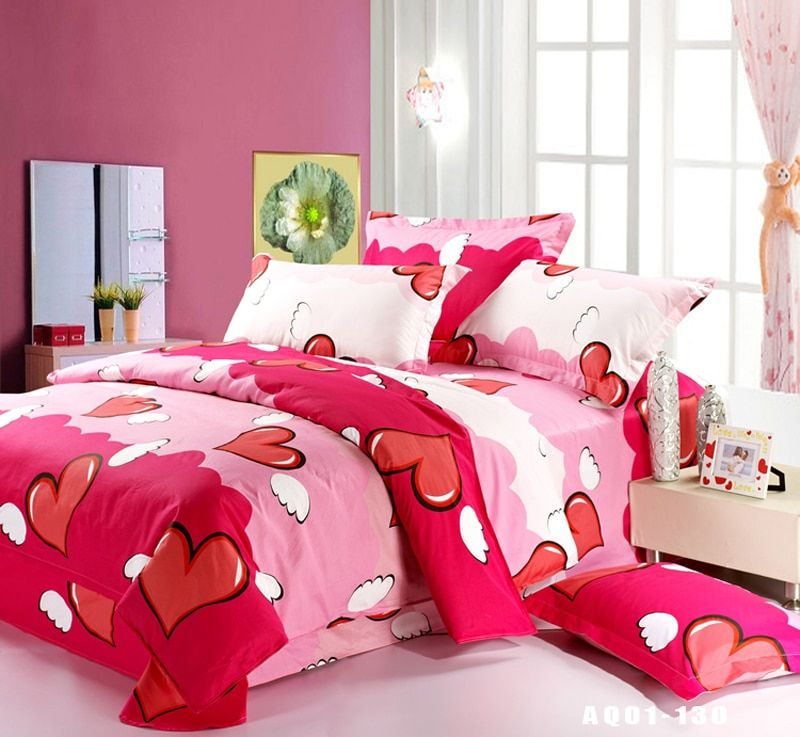 Red Heart New Contracted 100% Cotton Bedding Sets Comfortable Duvet Cover Sets Full Queen King Size bed 3pcs For Sale