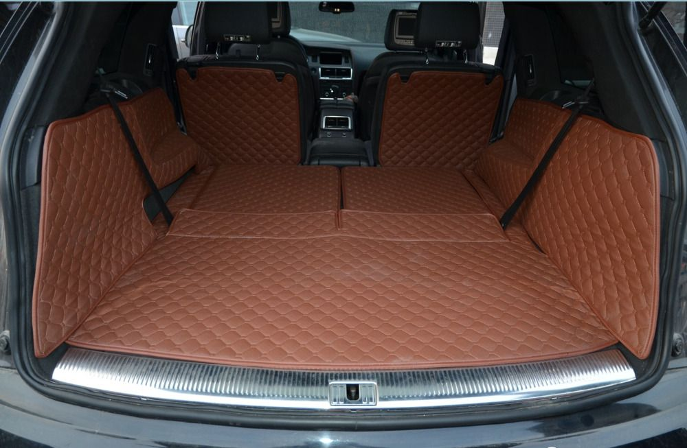Best quality! Special trunk mats for Audi Q7 7 seats 2014-2006 waterproof cargo liner mat boot carpets for Q7 2009,Free shipping
