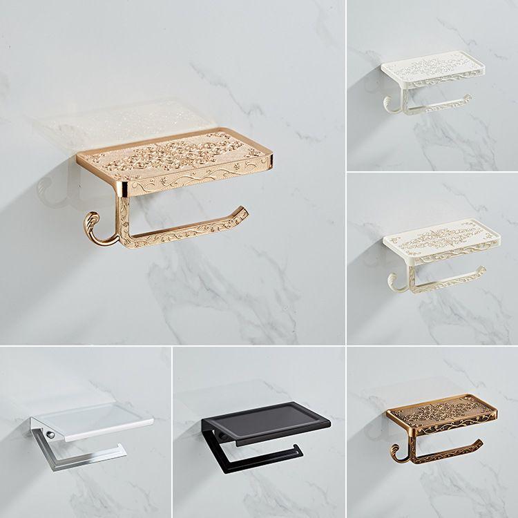 Ensemble de matériel de salle de bains support pour téléphone Mobile en papier blanc support de rouleau Antique en aluminium avec étagère support mural de boîte de papier toilette