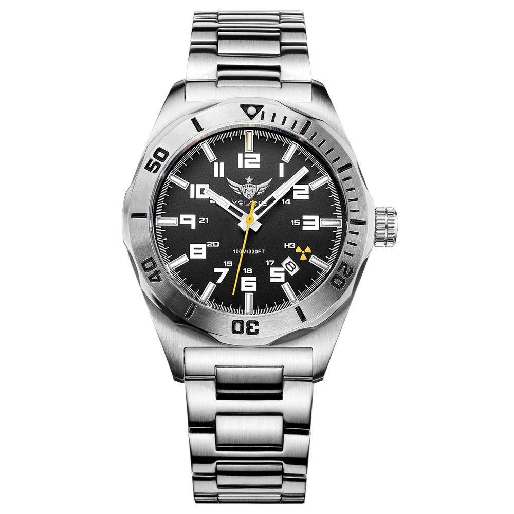 YELANG V1014 mens steel waterproof 100m tritium gas self luminous business automatic mechanical watch