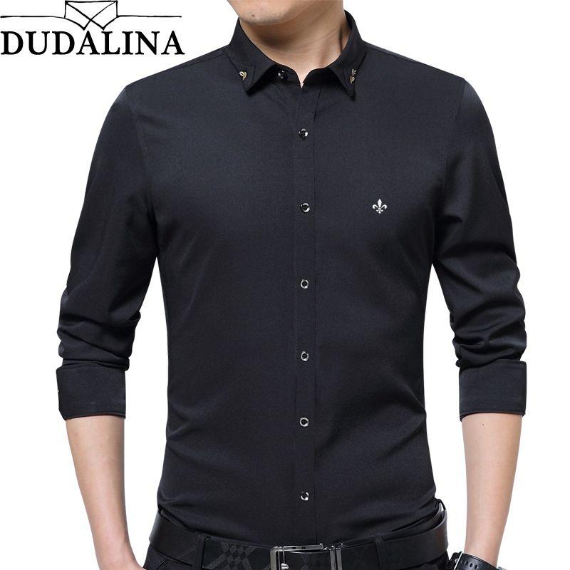DUDALINA broderie hommes vêtements solide Slim Fit hommes à manches longues chemise décontracté hommes Social chemise de grande taille Anti-rides-libre E51701