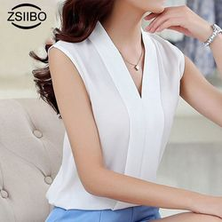 Large size Women Chiffon Blouses Ladies Tops Female Sleeveless Office Lady White Shirt Plus Size Female Clothing 4XL 5XL