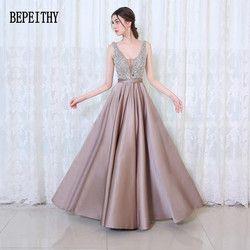 BEPEITHY 2019 Neue Ankunft Elegante Abendkleider V-ausschnitt Backless Perlen Formale Partei Kleid Vestidos De Festa