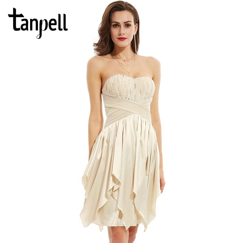Tanpell strapless cocktail dress elegant champagne sleeveless asymmetry a line gown women party homecoming short cocktail dress