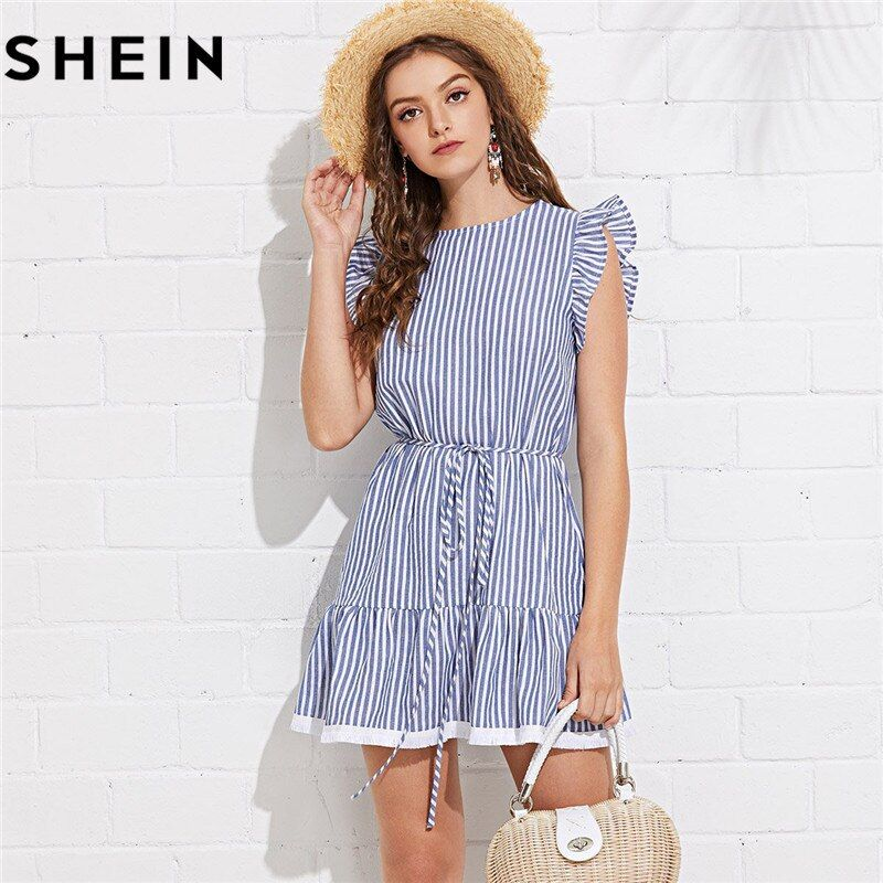 SHEIN Blue Sleeveless Striped Ruffle Solid Cotton A <font><b>Line</b></font> Mini Dress Women 2018 Summer Tie Waist Tassel Hem Beach Short Dresses