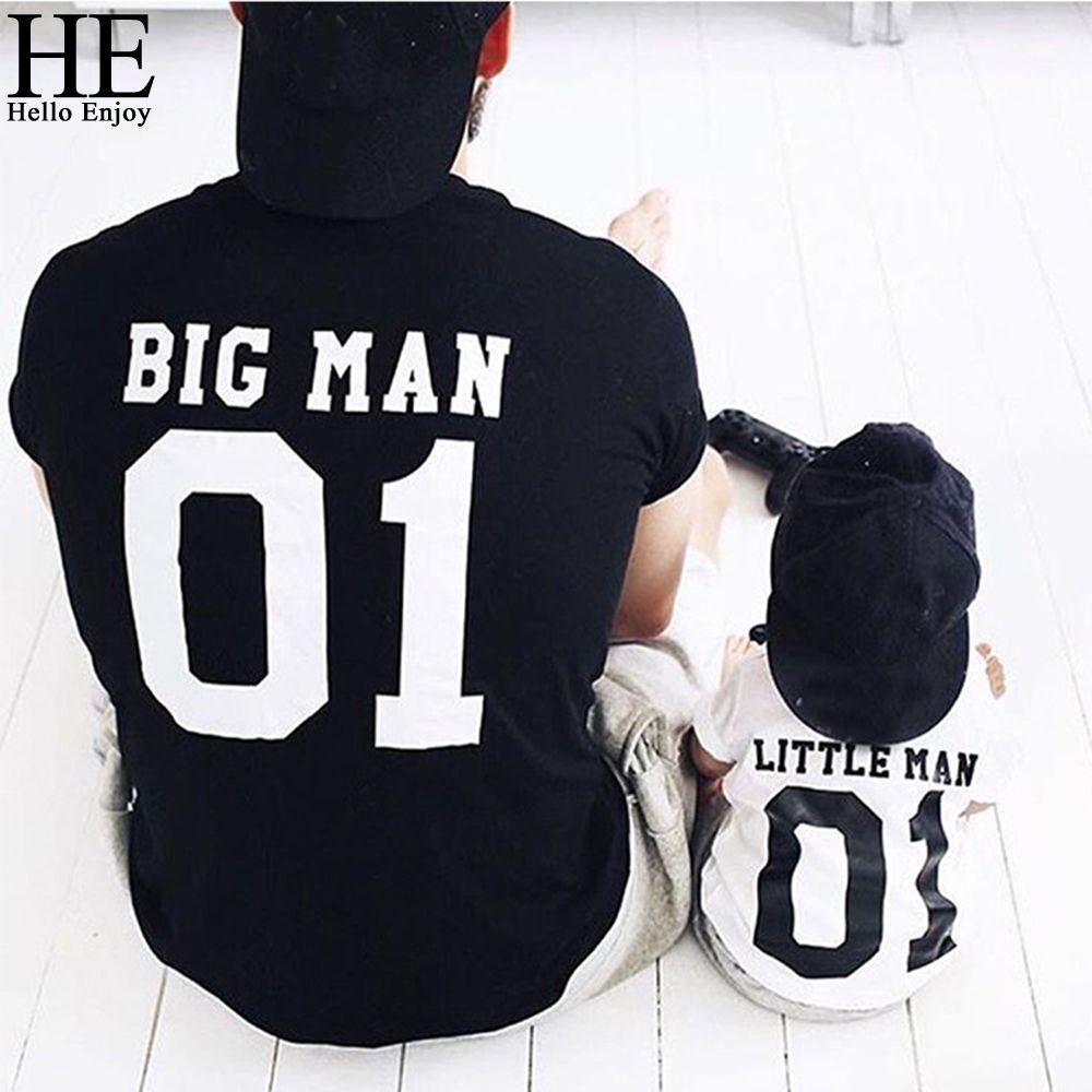 He Hello enjoy/одинаковые комплекты для семьи для папы и сына 2018 Детская летняя семейная одежда футболка для папы и сына одежда