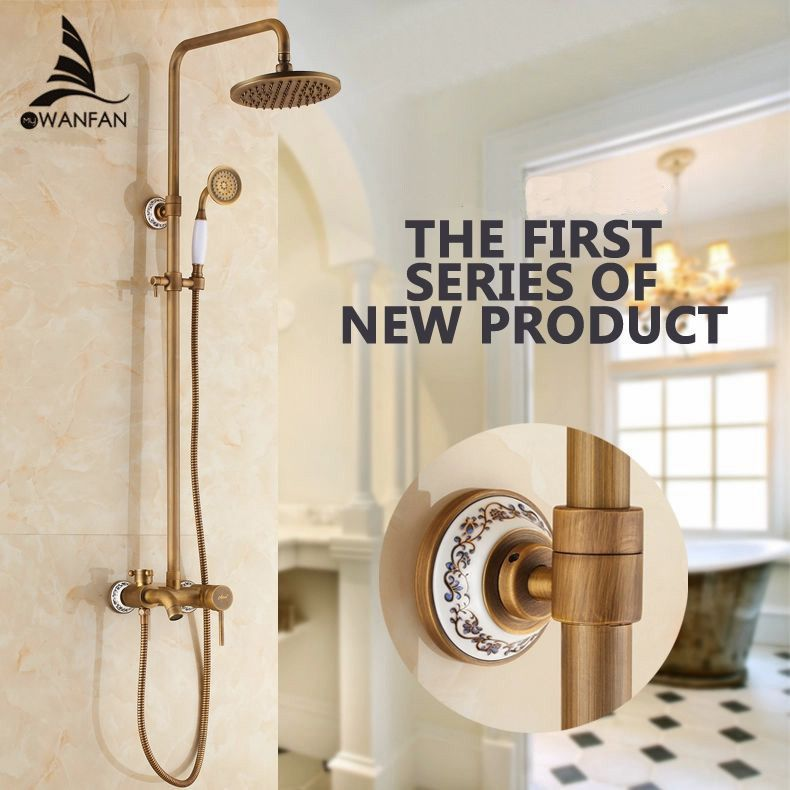 Shower Faucets Antique Finish Bathroom Faucet Brass Bath Rainfall With Spray Shower Head Europe Faucet Bath Shower Set ST-9134