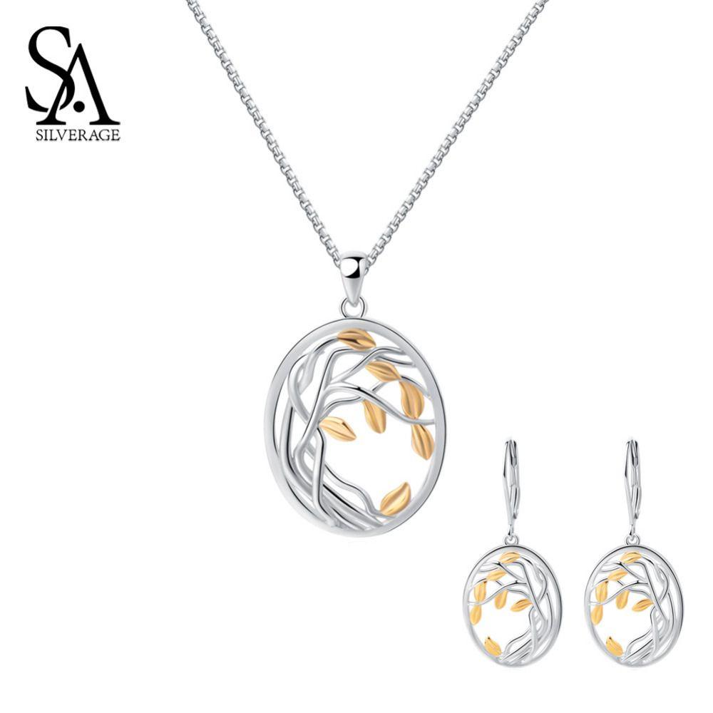 SA SILVERAGE 925 Sterling Silber Gelb Gold Farbe Schmuck Sets für Frau Lebens Baum Silber Anhänger Halsketten Ohrringe Sets