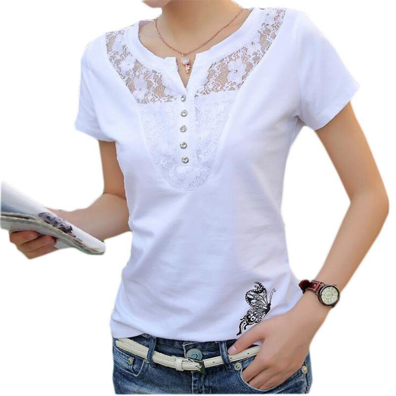 FEKEHA T-shirt D'été Femmes décontracté Dame top T-shirts Coton Blanc T-shirt Femme Marque Vêtements T petit haut T-shirt grande taille 4XL