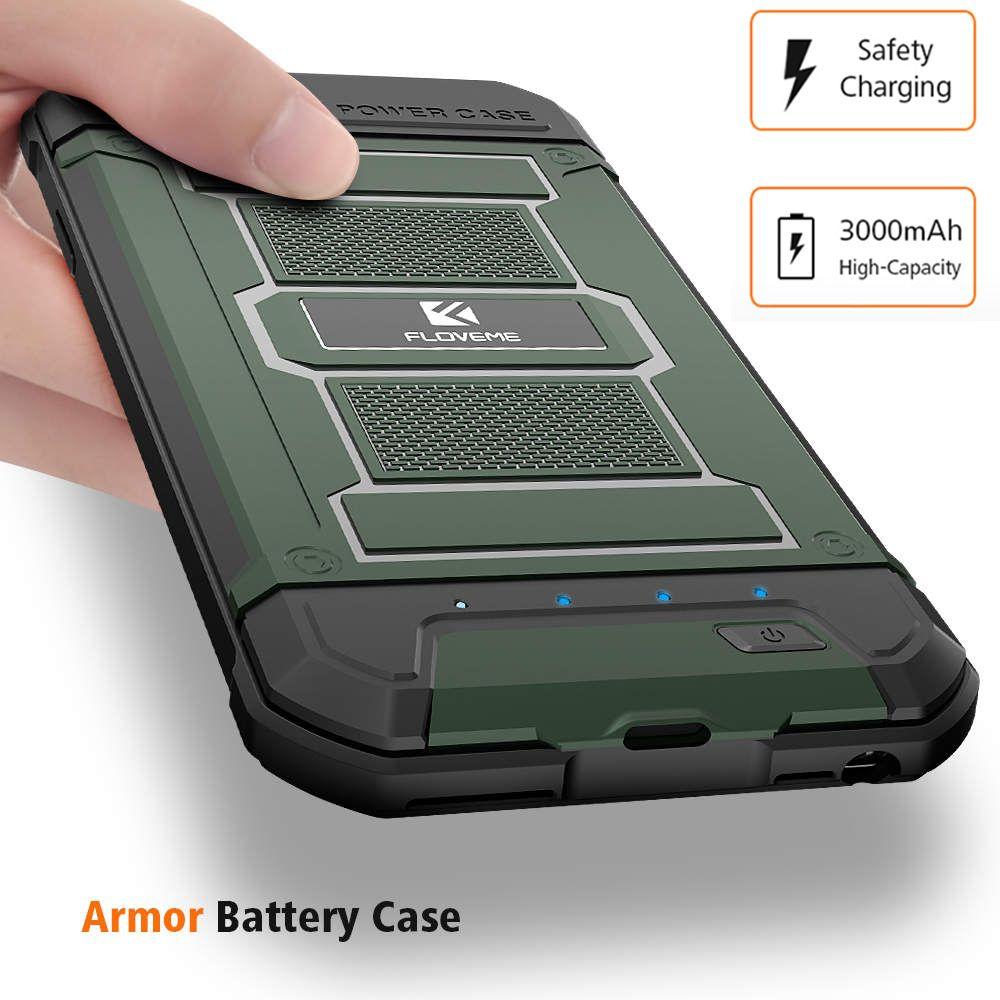 FLOVEME 3000 mAh Batterie Chargeur Cas Pour iPhone 6 6 S iPhone 7 Armure téléphone Cas Puissance Banque 5 V 1A Pour iPhone 7 6 Plus Powerbank