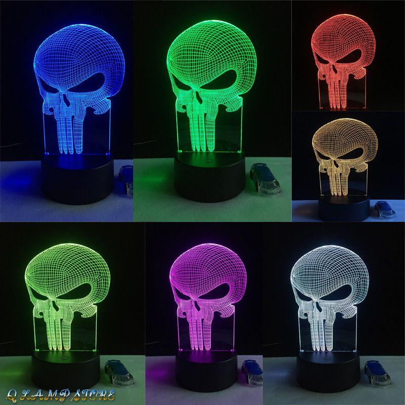 Nuevo diente cráneo 3D LED USB Lámpara Halloween Punisher humor colorido miedo tema casa embrujada decoración noche luz etapa Iluminación