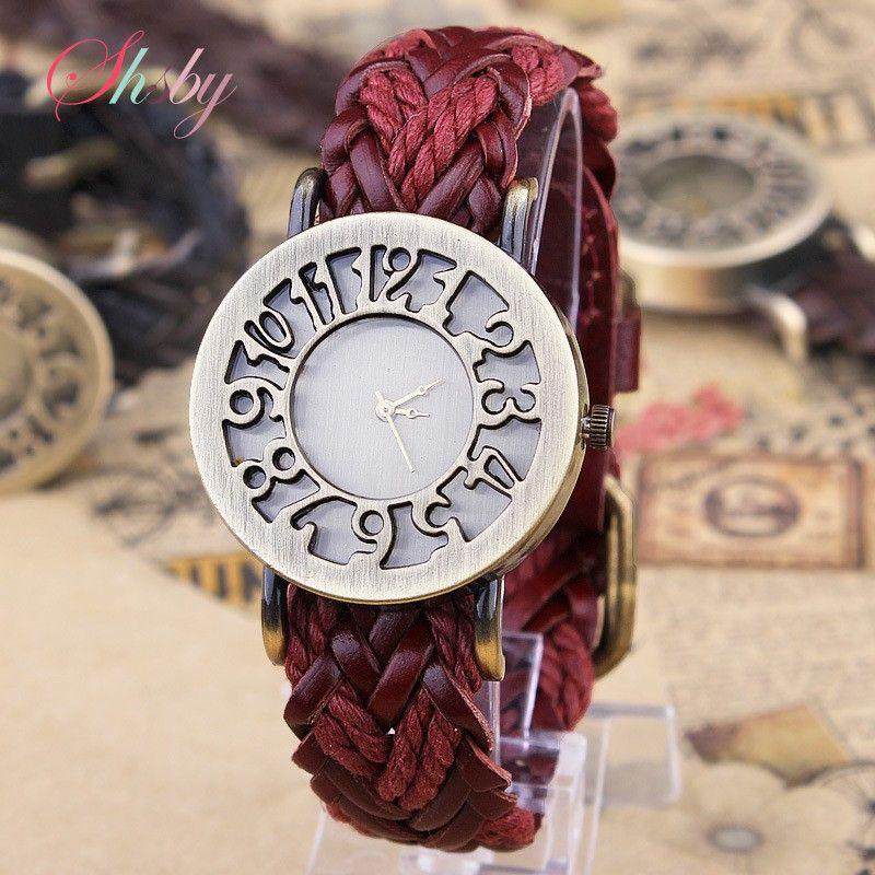 Shsby Nueva Roma Estilo Vintage ahueca hacia fuera digital genuino tejido a mano correa de cuero relojes vestido de las mujeres relojes
