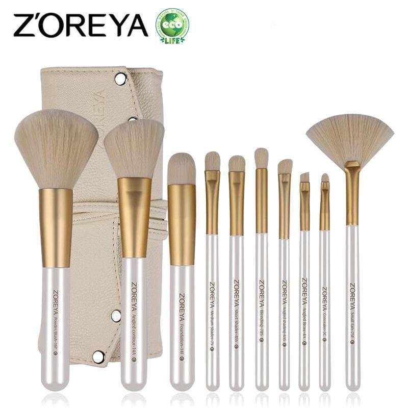 ZOREYA 10 pcs Pinceau de Maquillage Professionnel Outils Cosmétiques Pour la Beauté Des Femmes Fondation Poudre Blush Eyeliner Pinceaux de Maquillage