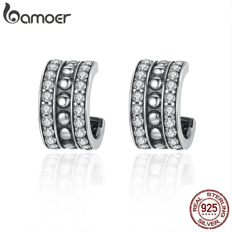 BAMOER 100% 925 Sterling Silver Vintage Glittering AAA Cubic Zircon Stud Earrings for Women Brincos Fine Jewelry Bijoux SCE261