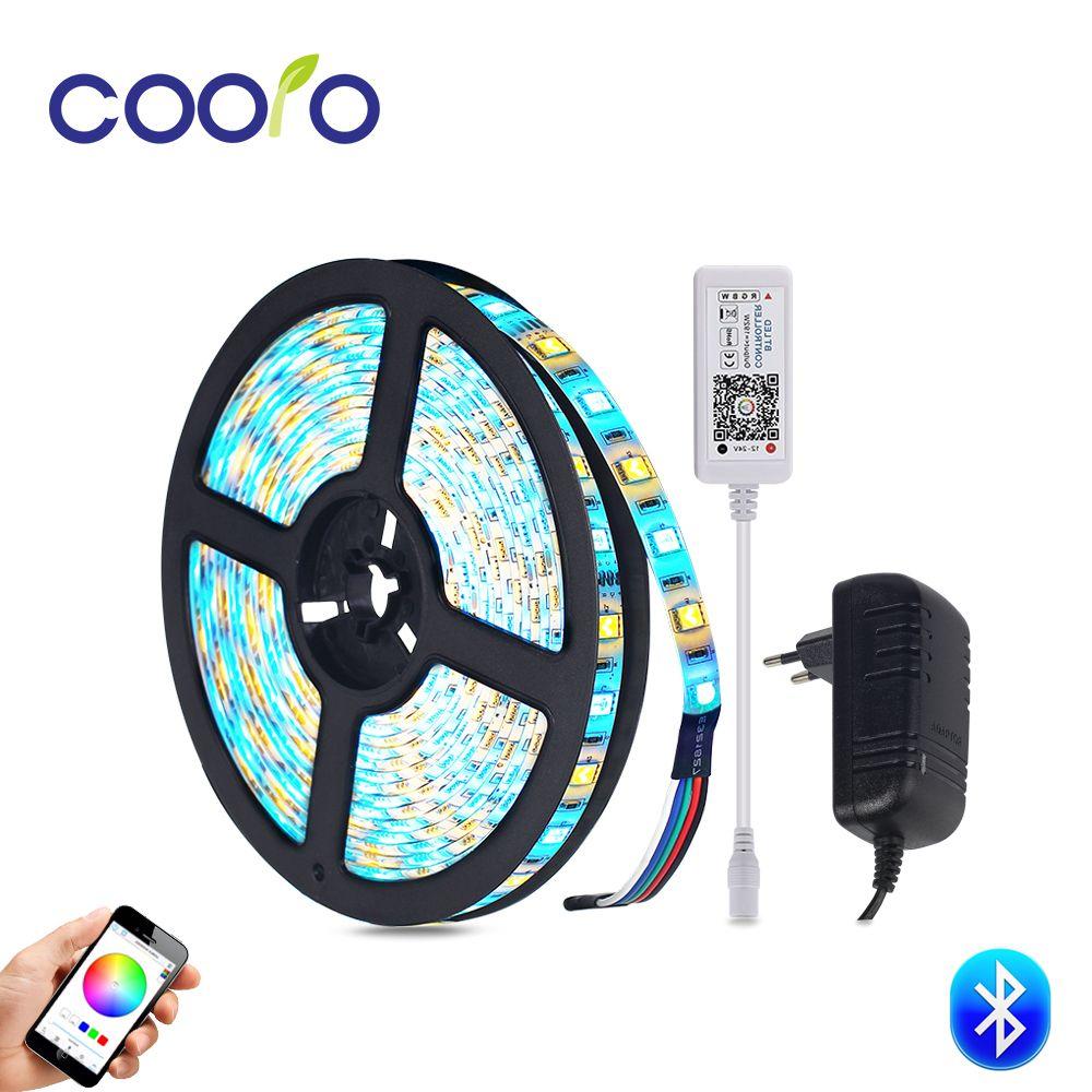 Bluetooth Led Strip Set RGB / RGBW / RGBWW Led Strip Light Waterproof Flexible Led Ribbon <font><b>Tape</b></font> 5m/roll with 3A Power Adapter