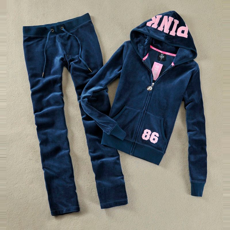 Spring / Fall 2017 PINK Women's Brand Velvet fabric Tracksuits Velour suit women Track suit Hoodies and Pants SIZE S - XL